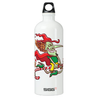 Halloween witch flying on a Christmas candy cane Water Bottle