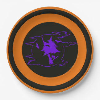 Halloween Witch Flying on Broom Paper Plates