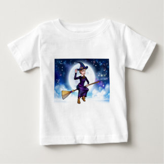 Halloween Witch Flying on Broomstick Background Baby T-Shirt