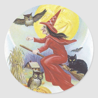 Halloween Witch Flying on Broomstick Classic Round Sticker
