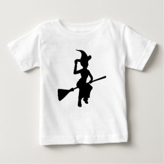 Halloween Witch Flying On Broomstick Silhouette Baby T-Shirt
