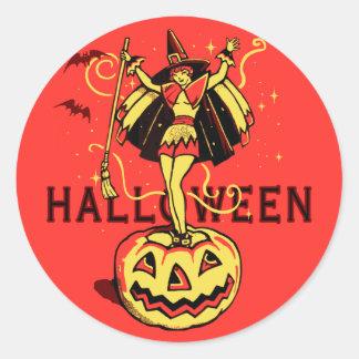 Halloween Witch Girl (vintage) Classic Round Sticker