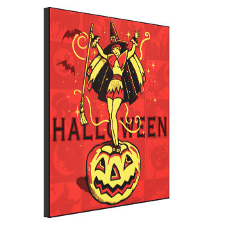 Halloween Witch Girl (vintage) Gallery Wrap Canvas