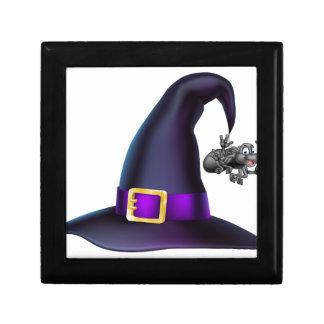 Halloween Witch Hat and Spider Trinket Box