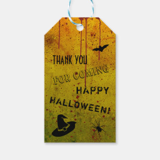 Halloween Witch Hat Spider Grungy Blood Gift Tags