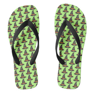 Halloween Witch Hat Trick or Treat Green Black Flip Flops