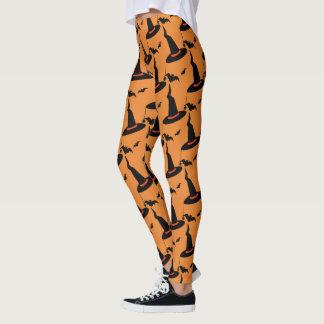 Halloween Witch Hats Bats Bright Orange Black Leggings