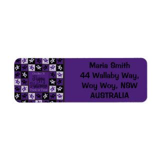 Halloween witch mosaic return address label