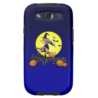 Halloween, witch on a broom, bats and pumpkins samsung galaxy s3 case