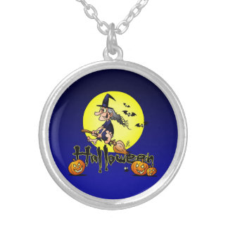 Halloween, witch on a broom, bats and pumpkins silver plated necklace