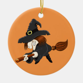 Halloween Witch on a broom Ceramic Ornament
