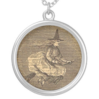 Halloween Witch on a Broom Silver Plated Necklace
