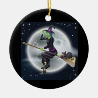 Halloween witch on a broom with cat ceramic ornament