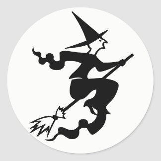 Halloween Witch On Broom Stickers