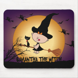 Halloween Witch on Broomstick Mousepad
