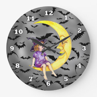 Halloween Witch On The Moon clock