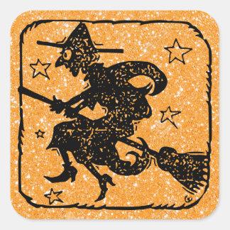 Halloween Witch Orange and Black Sticker