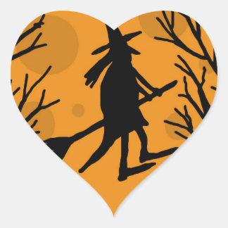 Halloween witch - orange moon heart sticker