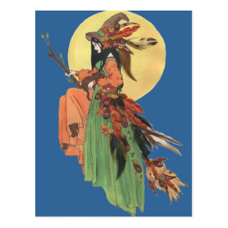 Halloween Witch Passes through the Moonlight Postcard