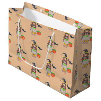 Halloween witch pattern peach gift bag