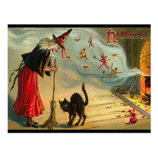 Halloween Witch Postcard, Black Cat, Broom, Magic Postcard
