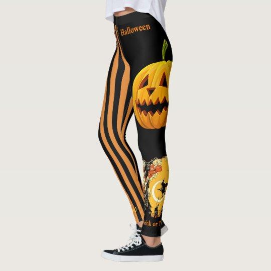Halloween Witch Pumpkin Leggings Black Pants