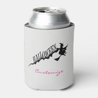 Halloween Witch Riding Broom Thunder_Cove Can Cooler