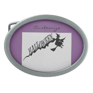 Halloween Witch Riding Broom Thunder_Cove Oval Belt Buckle