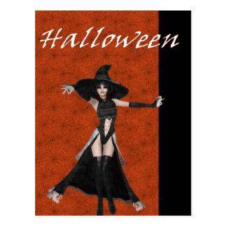 Halloween Witch Spider Web Bkgrd D3 Postcards