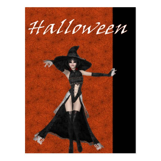 Halloween Witch Spider Web Bkgrd D3 Postcards