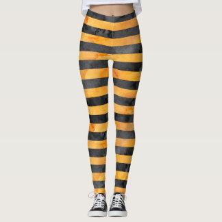 Halloween Witch Stripe Orange Black Pattern Leggings