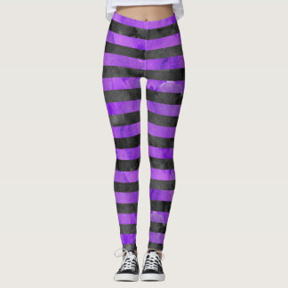 Halloween Witch Stripe Purple Black Pattern Leggings