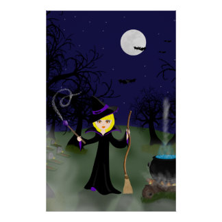 Halloween Witch with Cauldron Print