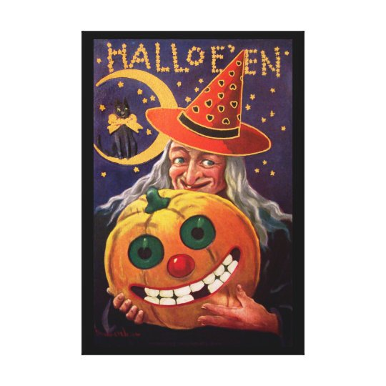Halloween Witch with Funny Pumpkin Canvas Print