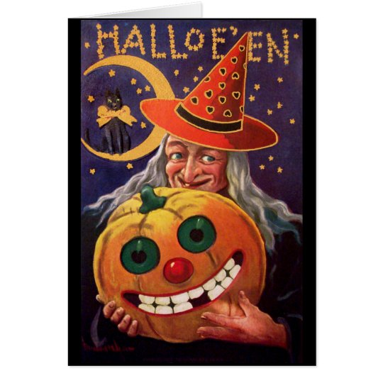 Halloween Witch with Funny Pumpkin Card