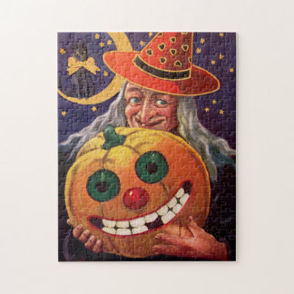 Halloween Witch with Funny Pumpkin Jigsaw Puzzle