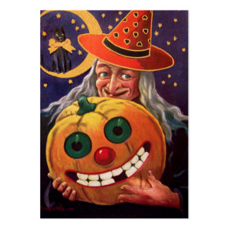 Halloween Witch with Funny Pumpkin Large Business Card