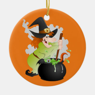 Halloween Witch with pot Ceramic Ornament