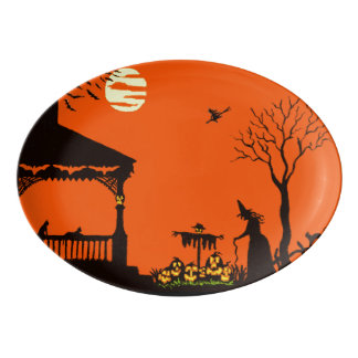 Halloween witches and black cats serving platter porcelain serving platter