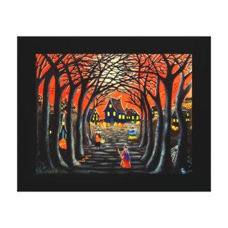 Halloween Witches Black Cats Pumpkins Landscape Canvas Print