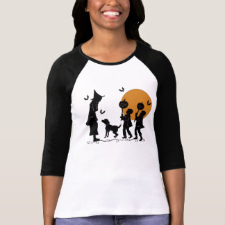 Halloween Witches Warlocks Dog and Bats T-Shirt