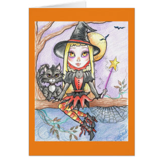 Halloween Witchling and Her Cat Fantasy Art Card