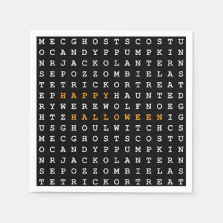 Halloween Word Search Disposable Napkins