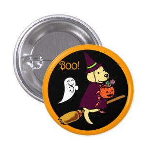 Halloween Yellow Labrador Cartoon 1 1 Inch Round Button