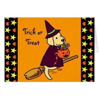 Halloween Yellow Labrador Cartoon 1 Greeting Cards
