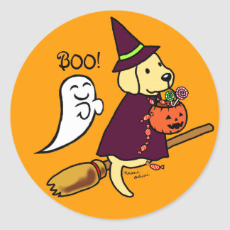 Halloween Yellow Labrador Cartoon 1 Classic Round Sticker