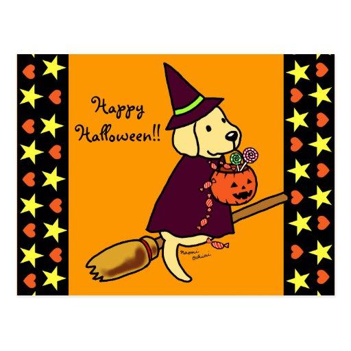 Halloween Yellow Labrador Cartoon 1 Post Cards