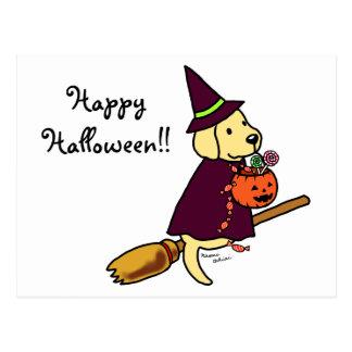 Halloween Yellow Labrador Cartoon 1 Postcard