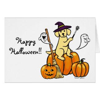 Halloween Yellow Labrador Cartoon 2 Greeting Card