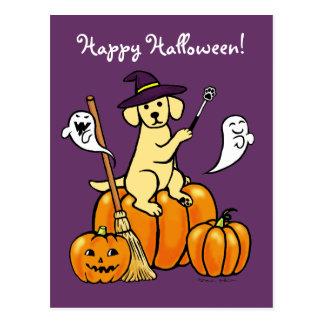 Halloween Yellow Labrador Cartoon 2 Postcard